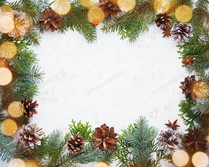 Christmas and Happy New Year light white background. Frame with garland lights