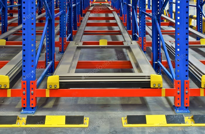 Warehouse storage inside shelving pallet racking systems