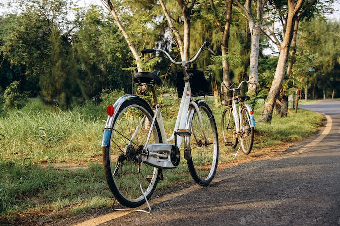 two white bicycles
