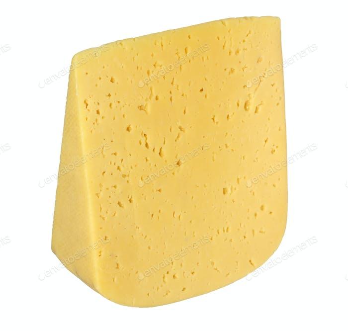 Stück Käse isoliert auf einem weißen Hintergrund