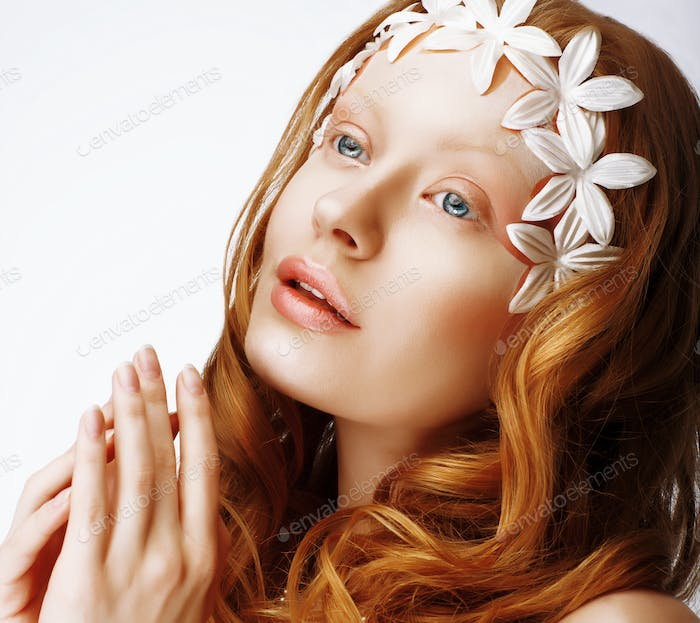 Exquisite Young Red Hair Woman in Reverie