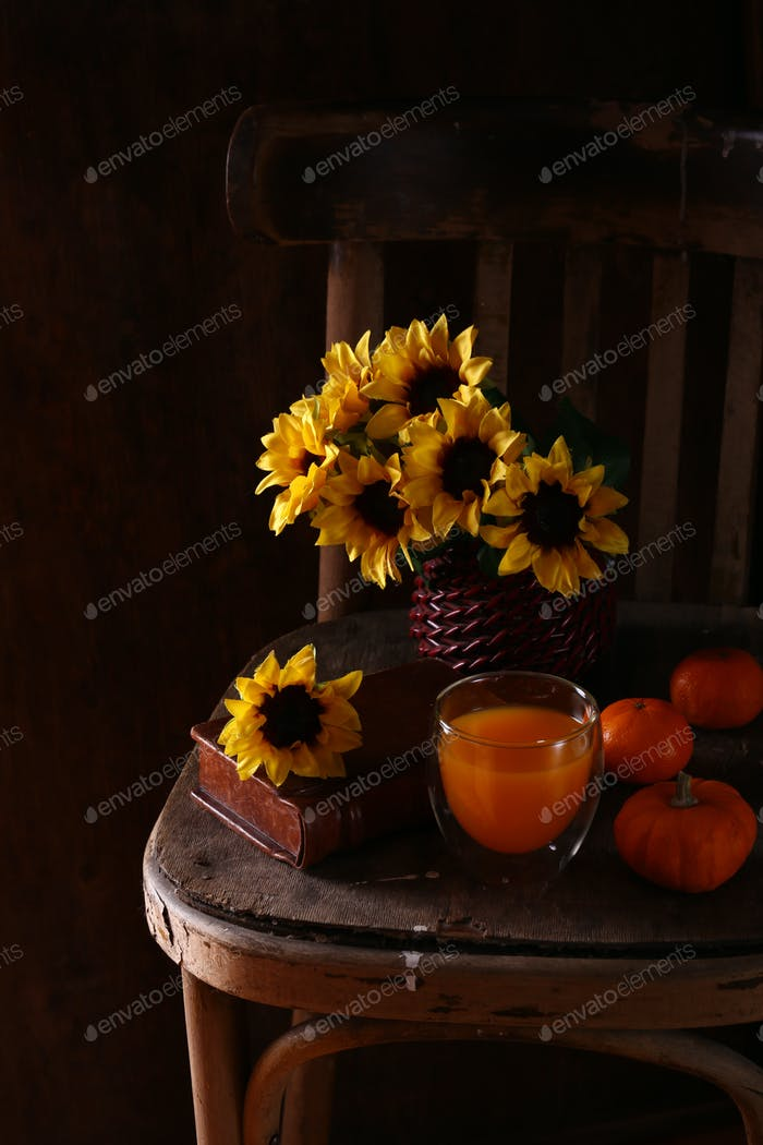 Wooden Chair with Sunflowers