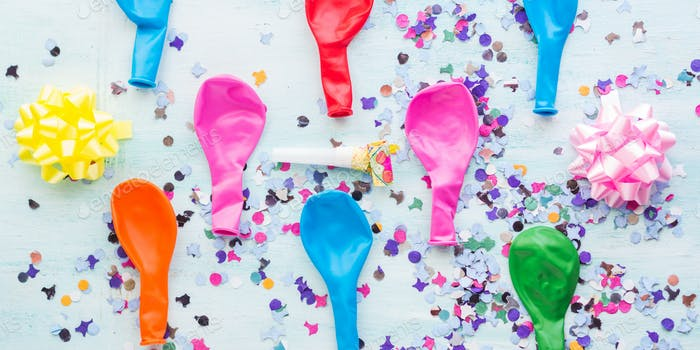 Colorful balloon and confetti pattern background