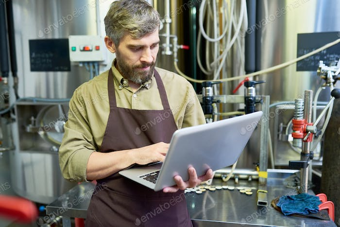 Serious handsome brewer using laptop in factory shop