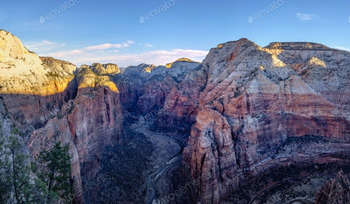 Panoramic view of Zion valley at sunrise, Utah