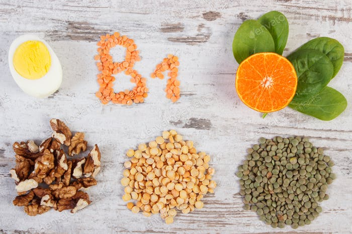 Products containing vitamin B1, dietary fiber and natural minerals