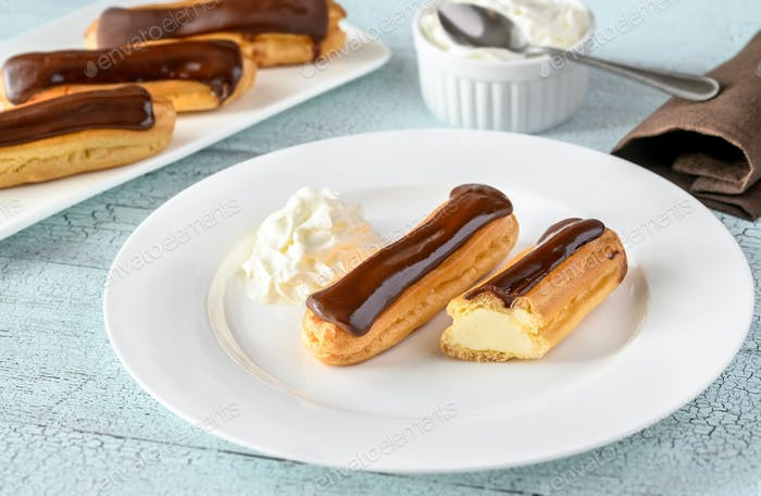 Eclairs with chocolate topping