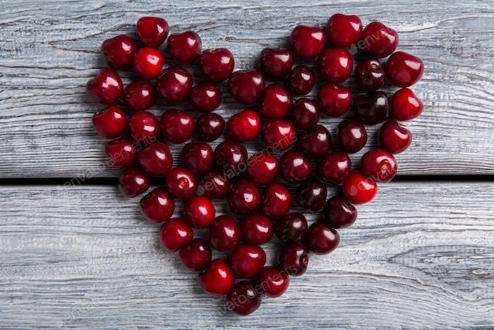 Heart made of cherry