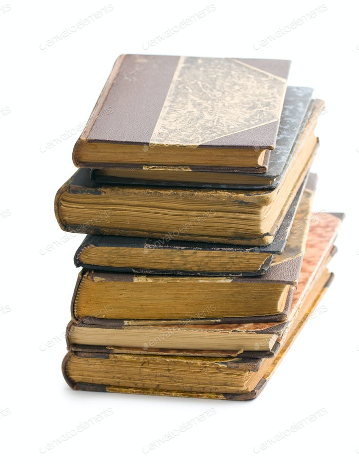 stack of ancient books
