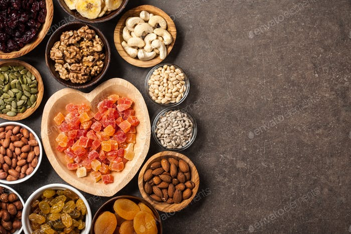 Healthy food. Nuts, dried fruits and seeds
