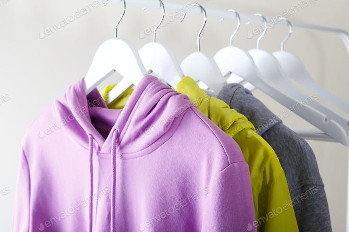Sports clothes hanging on a rack