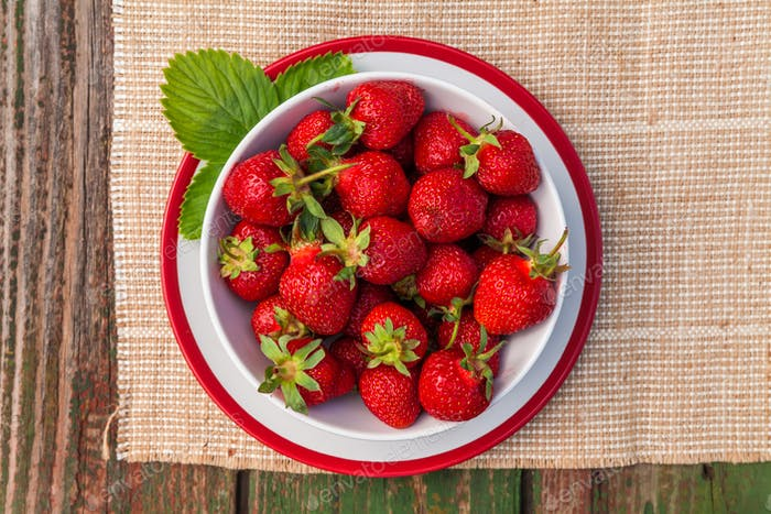 Fresh strawberry on wooden background,with copy space.