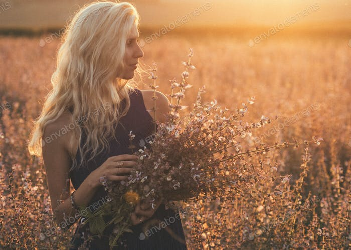 Beautiful Woman Young Girl in Summer Nature Fields