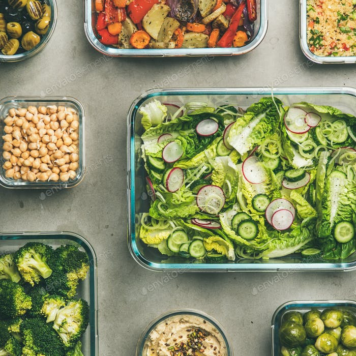 Healthy vegan or vegetarian dishes in glass containers, square crop