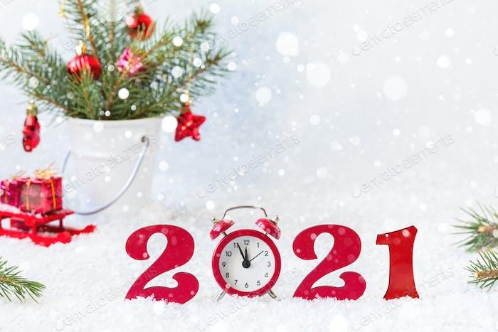 Frohes neues Jahr 2021. Feiertagskarte, Einladung zum Karneval von Weihnachten.