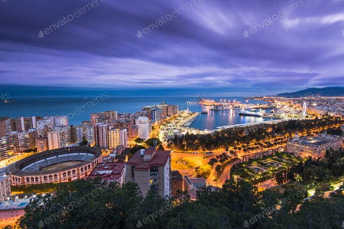 Malaga panoramic cityscape at evening