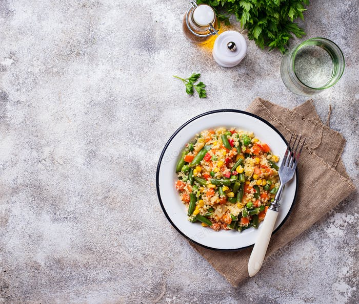 Vegetarian dish couscous with vegetables