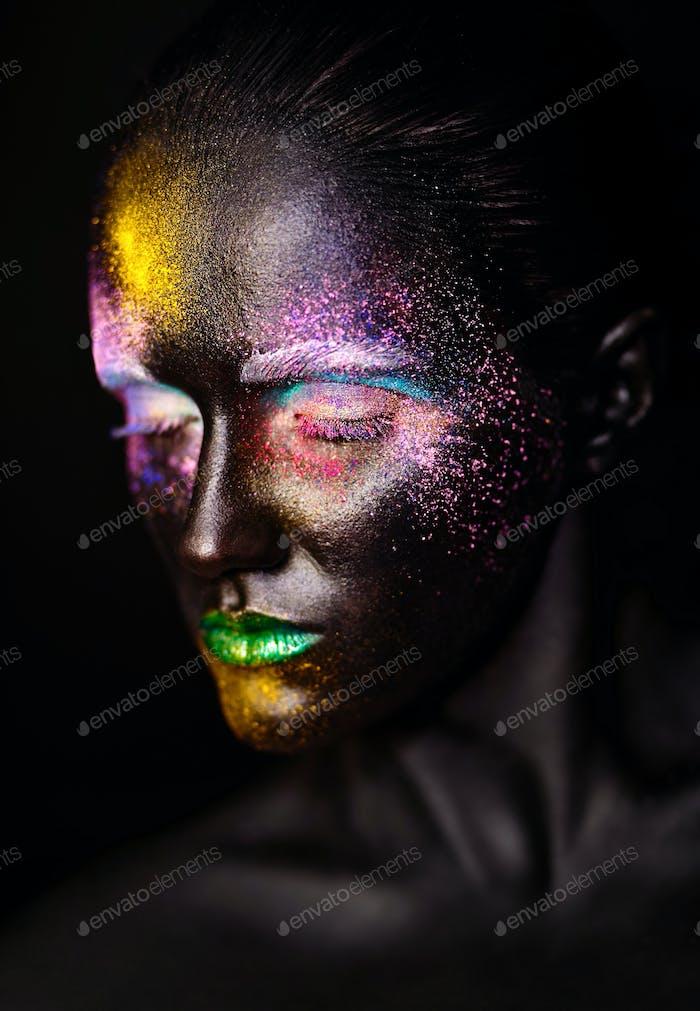 Woman with creative makeup