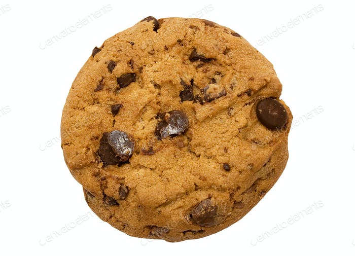 Chocolate Chip Cookie with Clipping Path Isolated on a White Background