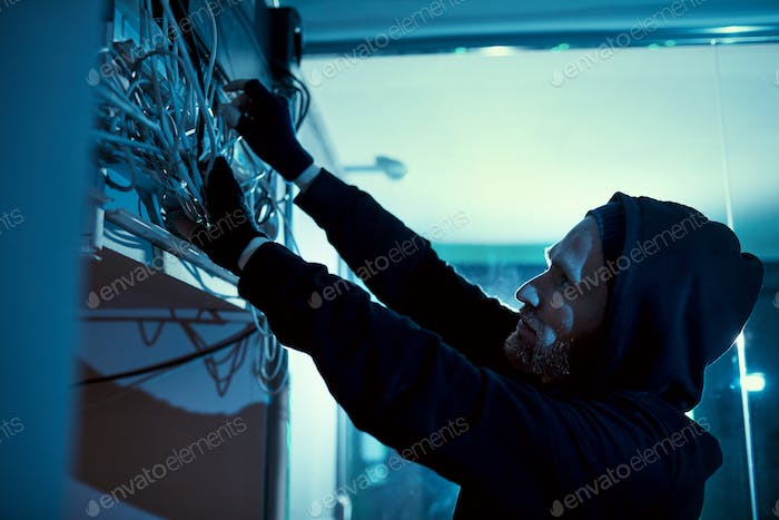 Electrician repairing the electricity