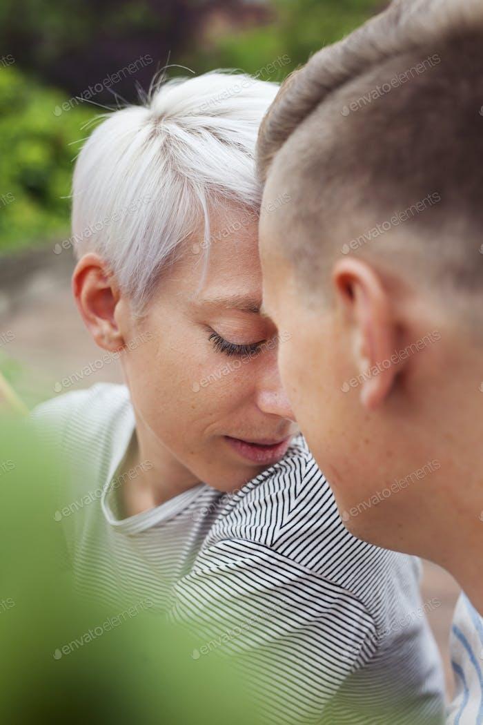 Portrait of couple in garden
