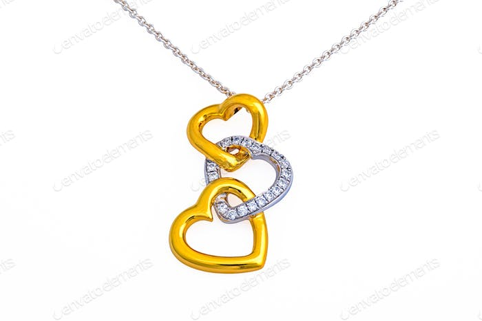 Gold heart pendant, necklace