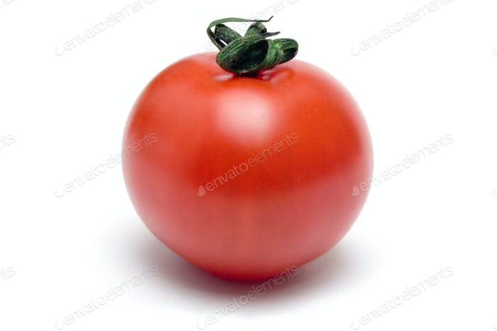 Single Cherry Tomato Isolated on a White Background