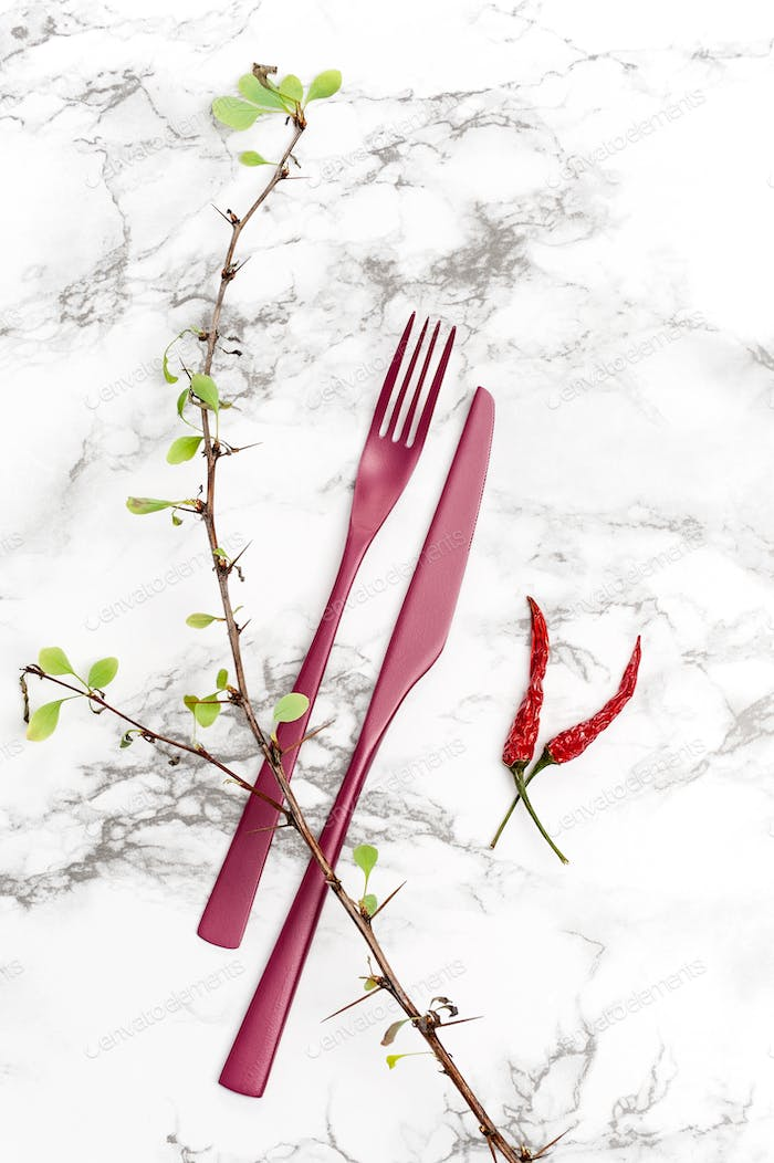 Fork, knife and dry plants on a marble table.