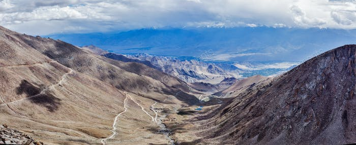 Panorama of Indus valley in Himalayas. Ladakh, India