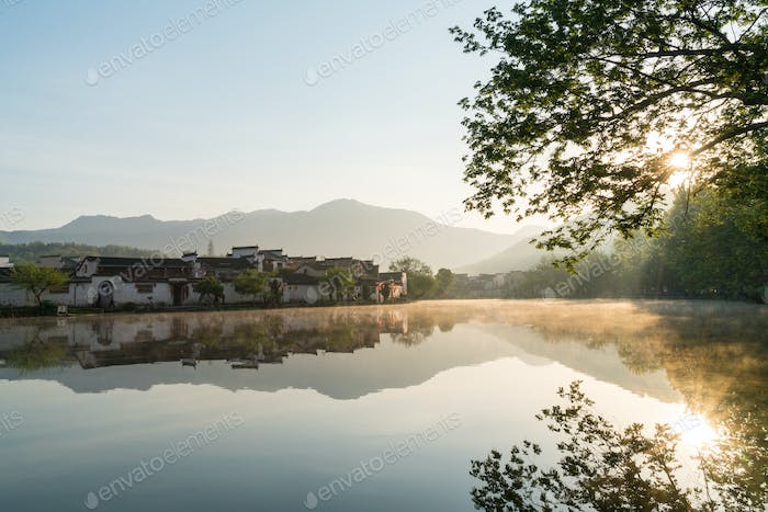 chinese ancient villages in sunrise