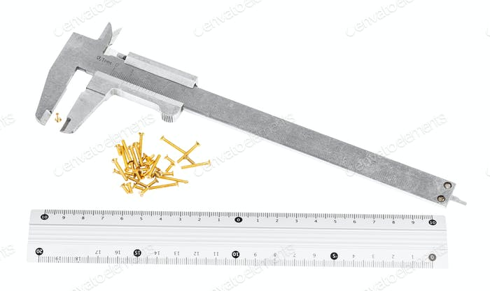callipers, metallic ruler and lot of brass screws