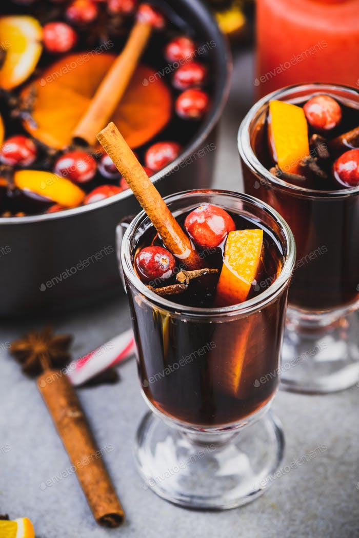 Celebrating Christmas With Mulled Wine. Festive Spirit. Christmas Food and Drink