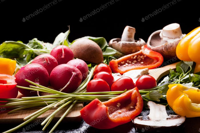 Healthy lifestyle concept image with different vegetables