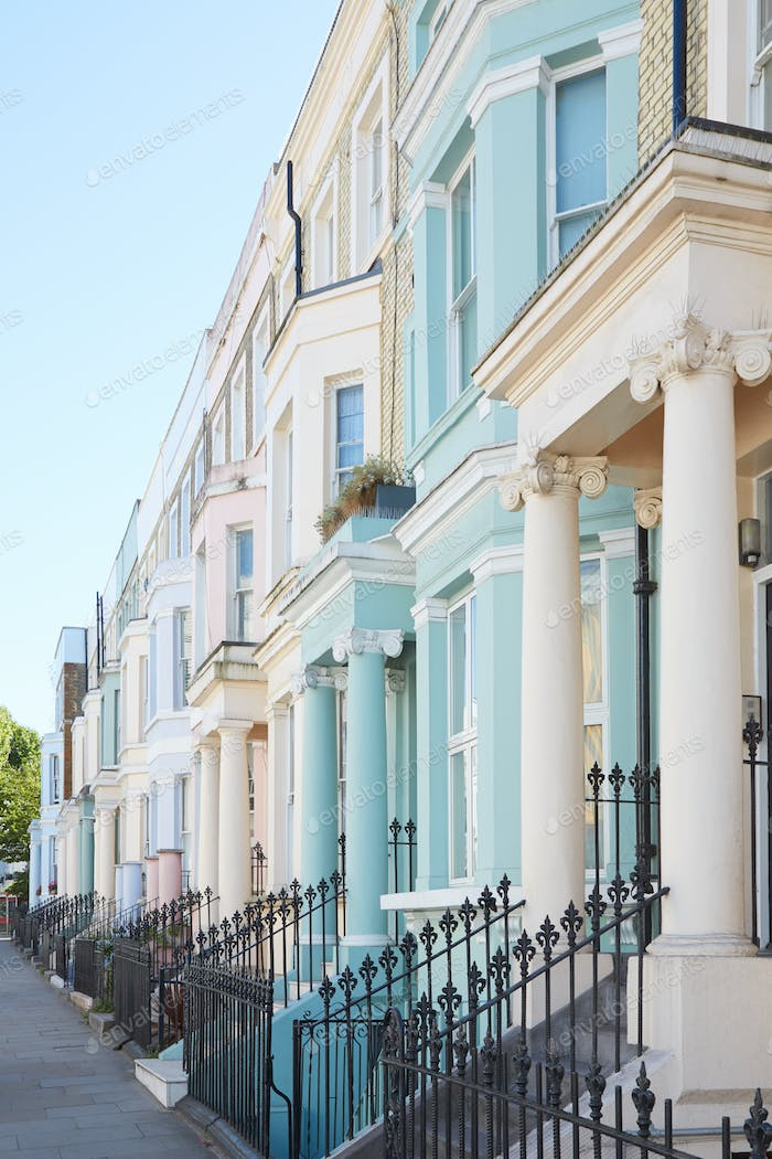 Pastel color luxury houses facades in London