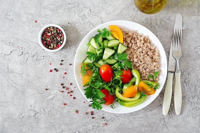 Diet menu. Healthy vegetarian salad of fresh vegetables