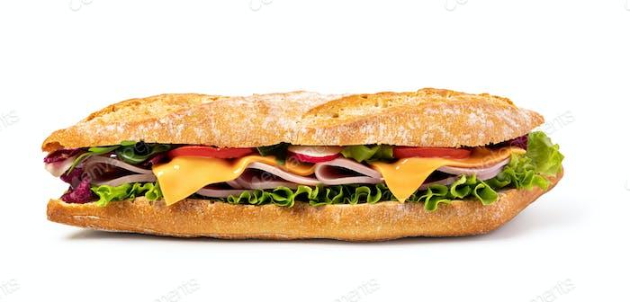 sandwich with ham on white background