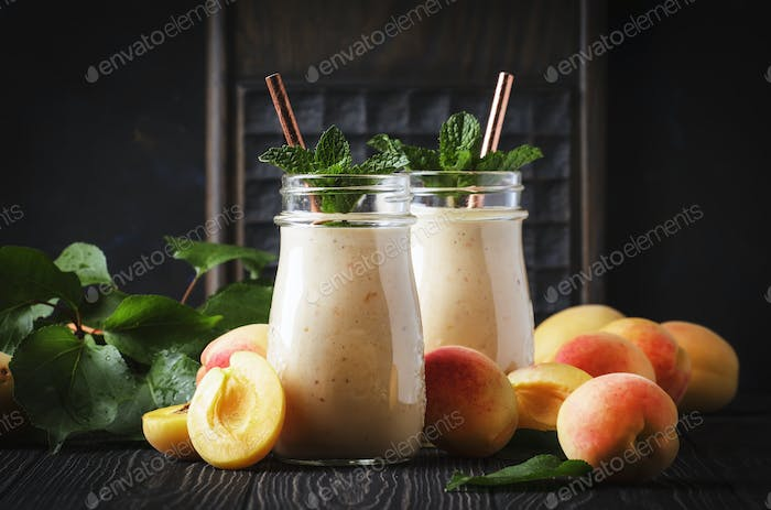 Apricot smoothies with fruits and flax seeds