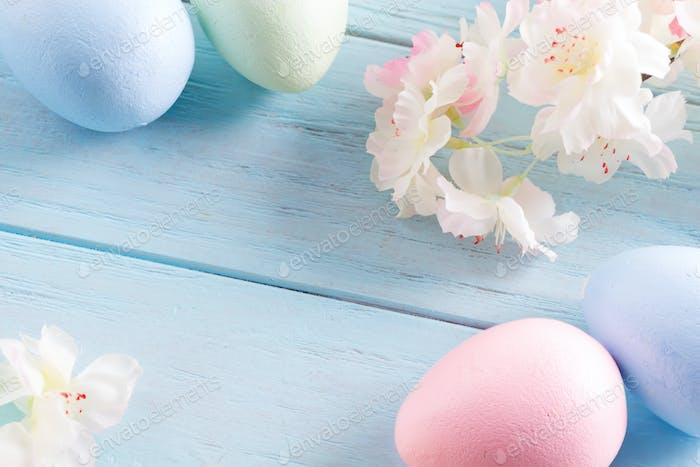 Nahaufnahme Osterkarte aus handgefertigen, bemalten Eiern und Zeltblumen auf hellblauem Holz
