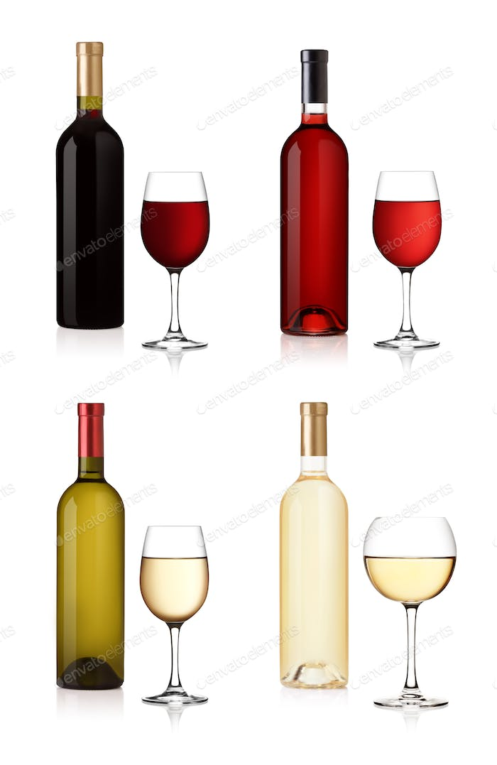 Set of wine Bottles and glas isolated on white background