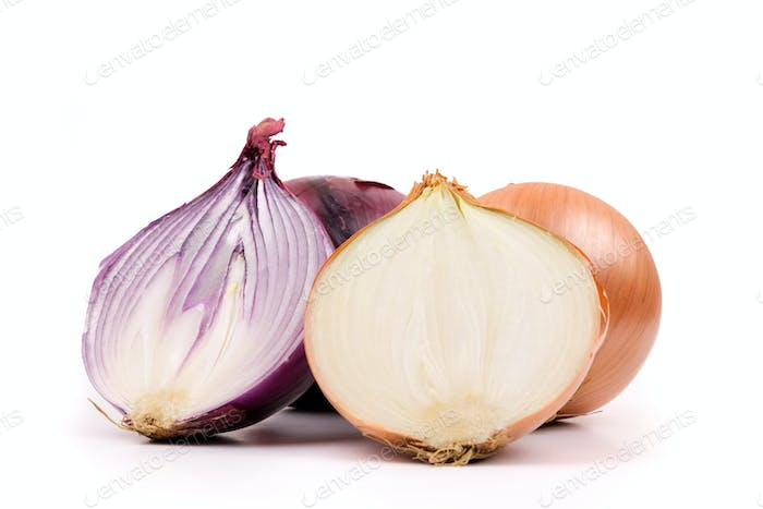 Ripe yellow and red onion on a white background