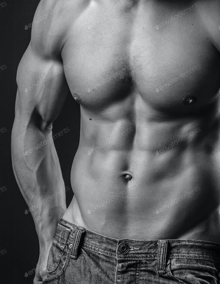 Abdominal muscles of a fit young man