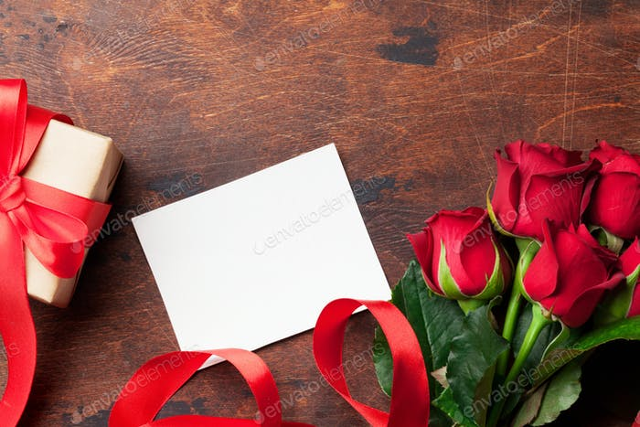 Valentinstag Grußkarte mit Rosen