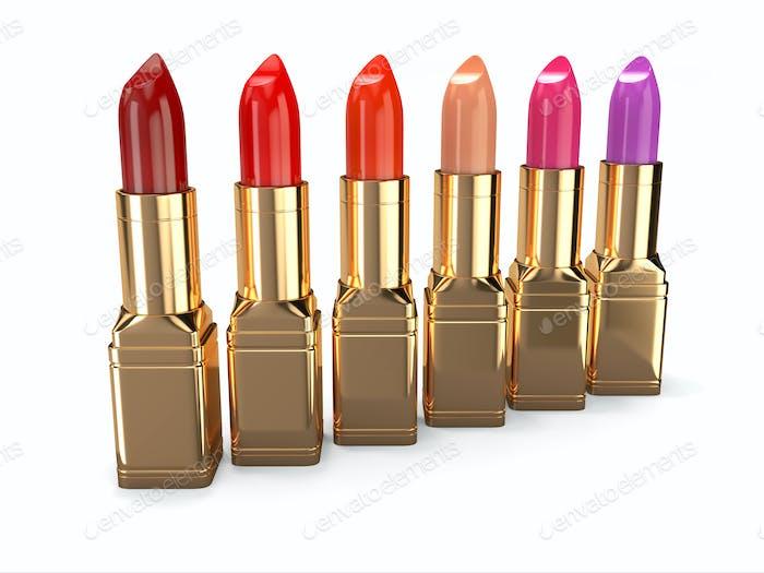 Row of lipsticks.
