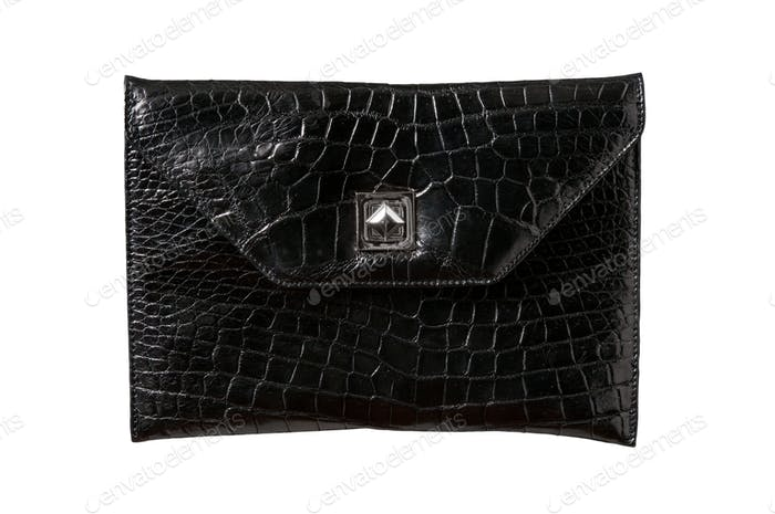 Leather, back alligator  bag