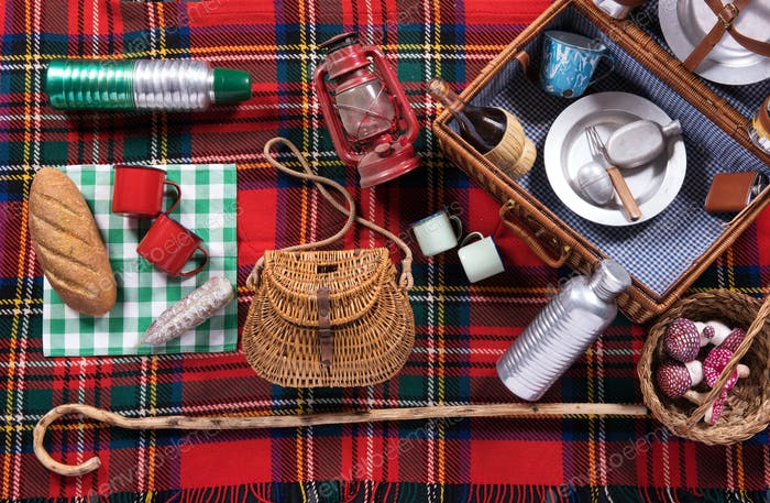 Assortment of picnic tools on a tartan rug