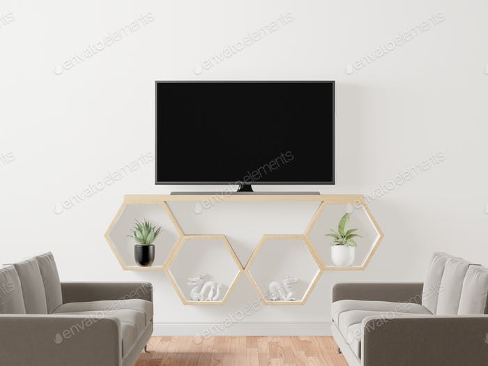 Living room with TV and furniture
