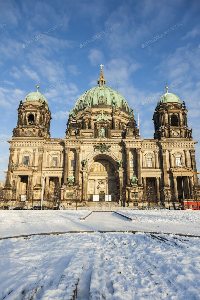 Berlin Cathedral in snow