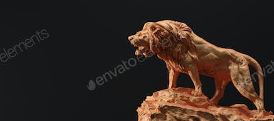 Statue of lion roaring, a clay sculpture