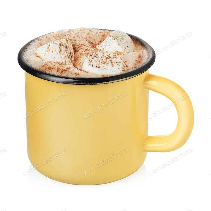 Enamel cup with hot cocoa
