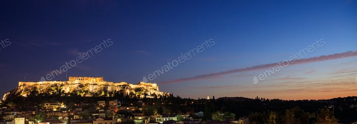 Athens, Greece. Acropolis rock and Plaka